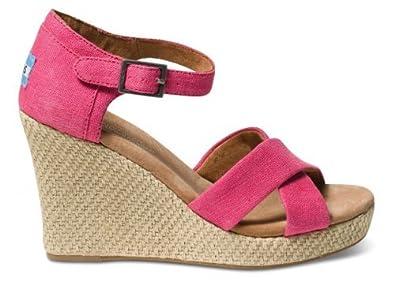 358ee635623 TOMS Pink Hemp Women s Strappy Wedges 024090B13-pink 10