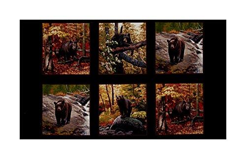 Elizabeth's Studio Ursus Americanus 24in Panel Black Fabric