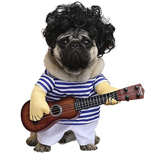AOFITEE Cats/Small Dogs Blue Stripe Coat Halloween Cosplay Costume with Toy Ukulele, Pet Guitarist Carrying Costume Funny Apperal, Special Events Puppy Costumes, M ()