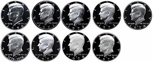 1970-1979 S Kennedy Half Dollars Gem Proof Run 9 Coins US Mint Decade Lot Complete 1970's Set -