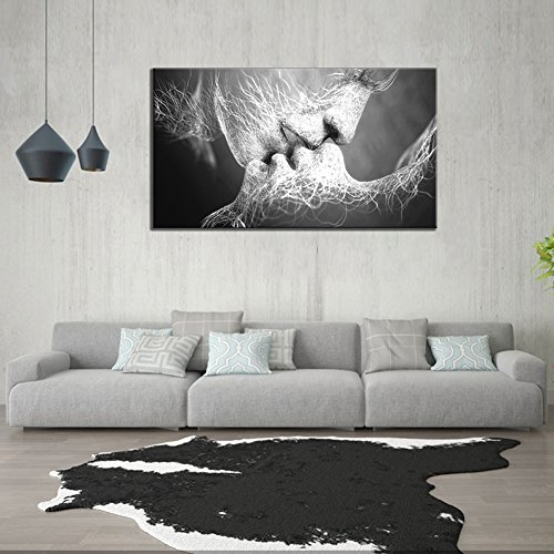 GOUPSKY Kiss Canvas Painting Black and White Picture Frames Romantic Kissing Couple Wall Art Decor Giclee Print Artwork 16X24 inch Stretched and Framed Ready to Hang by GOUPSKY (Image #1)'