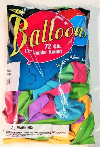 17 Inch Balloons, 7 Color TROPICAL ASSORTMENT, Helium Quality Latex, 17