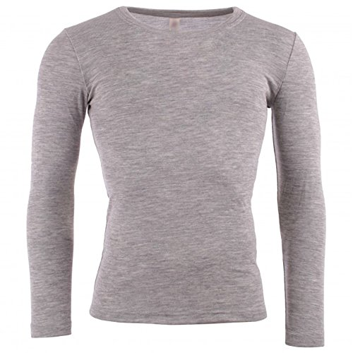 EcoAble Apparel Men's Thermal Shirt For Layering, 70% Organic Merino Wool 30% Silk (EU 54-56/Extra Large, Grey)