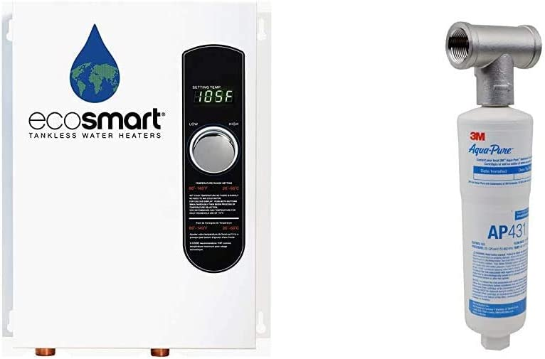 Ecosmart ECO 18 Electric Tankless Water Heater, 18 KW at 240 Volts with Patented Self Modulating Technology,White & 3M Aqua-Pure Whole House Scale Inhibition Inline Water System