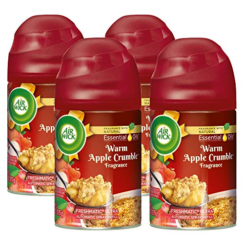 Air Wick Holiday Freshmatic 4 Refills Automatic Spray, Warm Apple Crumble, (4X6.17oz), Air Freshener