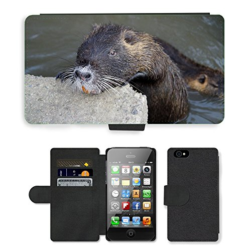 Just Phone Cases PU Leather Flip Custodia Protettiva Case Cover per // M00128360 Nutria Tête d'un animal sauvage animaux // Apple iPhone 4 4S 4G