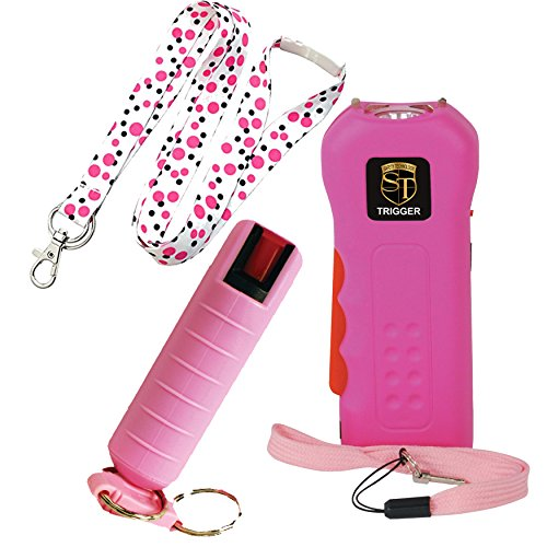 TRIGGER College Safety Bundle: Safety Technology 18 MIL Stun Gun, Pepper Shot 1.2% MC Pepper Spray and a 36 Inch Lanyard - Lot of 3 as Shown