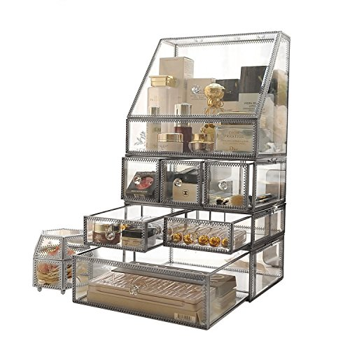 Silver Vintage Highend Large 4 Tier Clear Glass with Brass Metal Cosmetic Makeup Storage Cube Organizer with 6 Drawers. It Consists of 4 Separate Organizers, Each of Which Can be Used Individually by minopigo