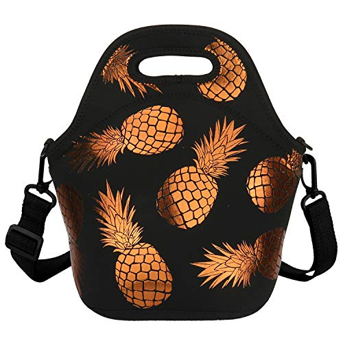 Pineapple Lunch Box Prep Insulated Lunch Bag Waterproof Cooler Tote Freezable Shoulder Strap Waterproof Picnic Meal with Zipper Detachable Shoulder Strap for School Office