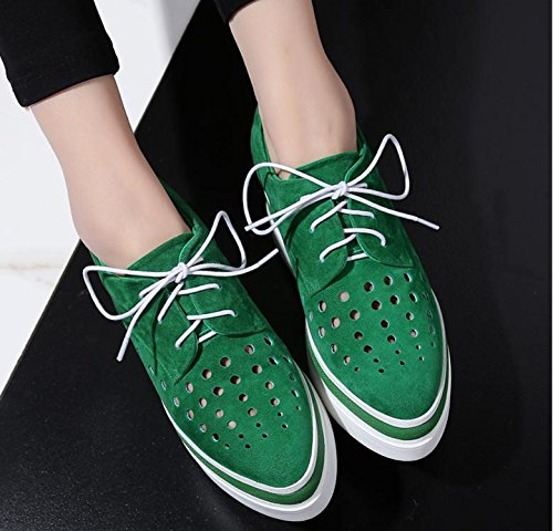 2017 increased lace sheep shoes belt women casual suede shoes Green new wUrORwq6