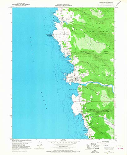 YellowMaps Mendocino CA topo map, 1:24000 Scale, 7.5 X 7.5 Minute, Historical, 1960, Updated 1968, 26.9 x 22 in - Paper
