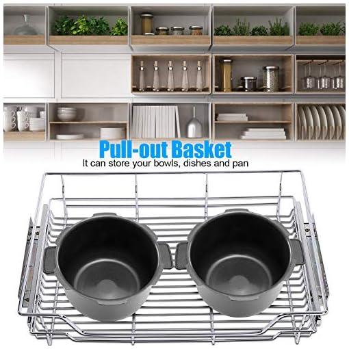 Kitchen Greensen Kitchen Sliding Cabinet Organizer, Pull Out Cabinet Wire Shelf Sliding Drawer Organizer Wire Pots Pans Storage… pull-out organizers
