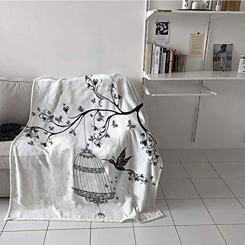Khaki home Children's Blanket Digital Printing Warm Blanket (50 by 60 Inch,Hummingbirds Decorations Collection,Birds Out of Cages Spring Birdcage on Branch Wings Tail Romantic Love Heart Image,Black