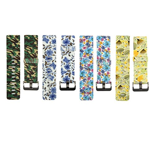 Classic Silicone Replacement Accessory Band/ Wristband Bracelet Strap with Watchband Buckle for Fitbit Blaze Smart Fitness Watch, Small Size, Printed with Camo/ Floral Designs - Camouflage Buckle