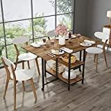 Folding Dining Table, Tribesigns Expandable Dining Table with Double Drop Leaf, Extra 2-Tier Storage Shelf, 2 Lockable Casters for Home Kitchen Use, Chairs Not Included.