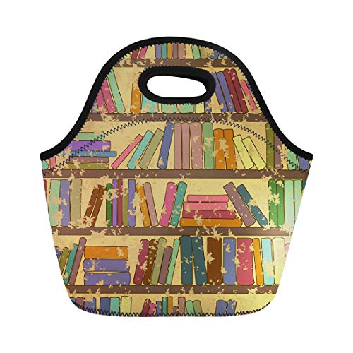 Semtomn Neoprene Lunch Tote Bag Brown Old Vintage of Library Bookshelf Books Stack Academy Reusable Cooler Bags Insulated Thermal Picnic Handbag for Travel,School,Outdoors,Work