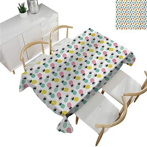 familytaste Hawaii, tablecloths,Colorful Pineapples Illustration with Abstract Rhombus Pattern Composition of Fruit,Rectangle Tablecloth Dinner Picnic 60