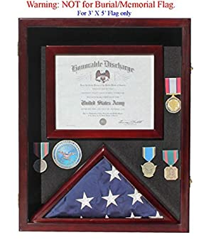Military Shadow Box 3 X5 Flag Display Case, with Certificate Frame Mahogany