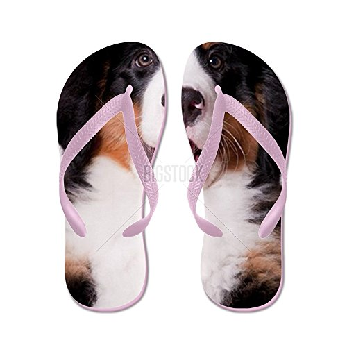 CafePress Happy Bernese Mountain Dog Puppy - Flip Flops, Funny Thong Sandals, Beach Sandals Pink