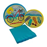 Beach Bike Party Bundle with Paper Plates and Napkins for 8 Guests