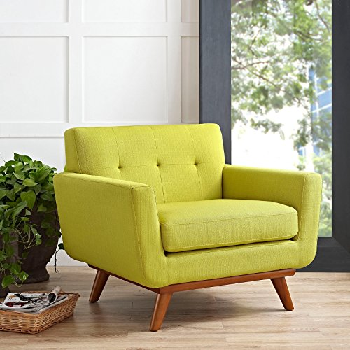 Mid-Century Modern Style Low-Back Engage Wooden Leg Button Tufting Armchair Cherry Finish (Wheatgrass) -