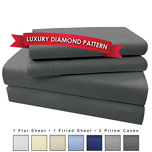 4 Piece Premium Luxury Microfiber Bed Sheet Set- SLEEP BETTER THAN EVER, Ultra Soft Luxury - Egyptian Quality 1600 Series Collection by My Perfect Nights (King, Dark Gray)