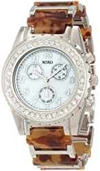 XOXO Women's XO5437 Tortoise Bracelet with Clear Rhinestones Bezel Watch