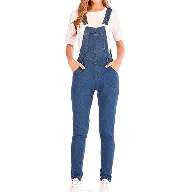 STRIR Mujer Mono Vaquero con Bolsillo Casual Jeans Pantalones de ...