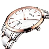 BUREI Women's Simple Elegant Quartz Watch with Rose Gold Date Analogue Sapphire Lens and Two-Tones Stainless Steel Bracelet