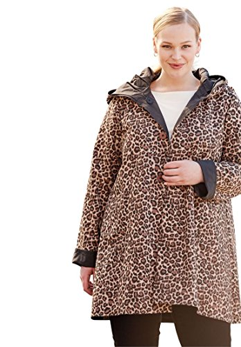 Jessica London Women's Plus Size Reversible A-Line Raincoat Black Leopard (Leopard Raincoat)