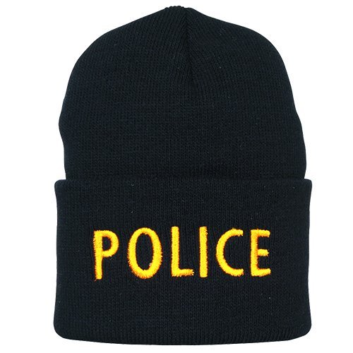 Fox Outdoor Products Embroidered Watch Cap, Black Police/Gold Lettering