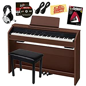 Casio Privia PX-860 Digital Piano - Walnut Bundle with Furniture Bench, Headphones, Instrument Cables, Instructional Book, Austin Bazaar Instructional DVD, and Polishing Cloth