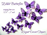 24 Purple Monarch BUTTERFLY Small Medium & Large Edible Decorative Wafer Paper Butterflies © Assorted Set Cake Decorations Cupcake Topper Weddings Birthdays Anniversaries Baby Showers