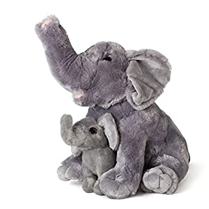 "Mom And Baby Elephants Plush Toys 2 Stuffed Elephants 11"" and 5.5"" By Neliblu Calf - Stuffed Animals - Animal Themed Party Accessory - Educational Toy"