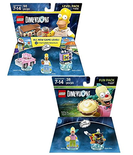 LEGO Dimensions Simpsons 2 Pack Variety Bundle; Homer Level Pack and Krusty Fun Pack