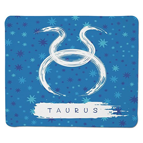 Mouse Pad Unique Custom Printed Mousepad [ Taurus,Brushstroke Featured Astrological Sign Figure Horoscope Celestial Design Decorative,Violet Blue White ] Stitched Edge Non Slip Rubber Celestial Blue Design