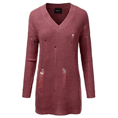 Doublju Oversized Cable Knit Longline Distressed Sweater Dress For Women