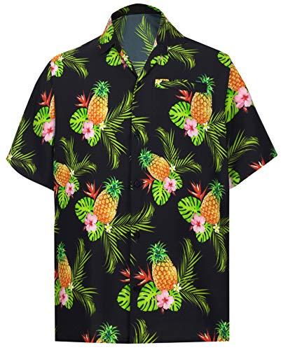 (HAPPY BAY Men Hawaiian Shirt Collar Button Down Black_W608 XL Chest 48