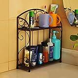 Bathroom Shelf Iron Set Shelf Bathroom Shelf Floor Kitchen Shelf Shelf Shelf 2 Floor ( Color : Bronze )