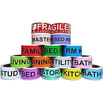 800 Count Home Moving Color Coding Labels 4 Bedroom House Fragile Stickers
