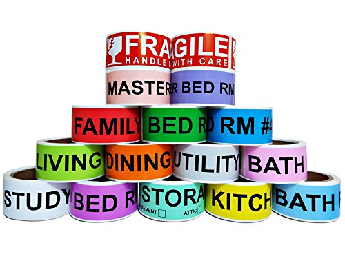 800 Count Home Moving Color Coding Labels, 4 Bedroom House + Fragile Stickers, [14 Different Living Spaces + 2 Rolls Handle with Care, 16 Rolls Total, 50 Labels/Roll, 1 Inch Height X 4.5 Inch Width]