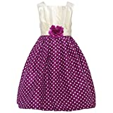 Mia Juliana Little Girls Wine Ivory Polka Dot Flower Christmas Dress 5