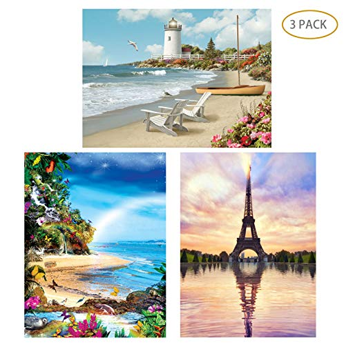 5D Full Drill Diamond Painting Kit,Hartop DIY Diamond Rhinestone Painting Kits for Adults and Beginner,Embroidery Arts Craft Home Office Decor 12 X 16 Inch (3 Pack of Lighthouse,Beach,Eiffel Tower)