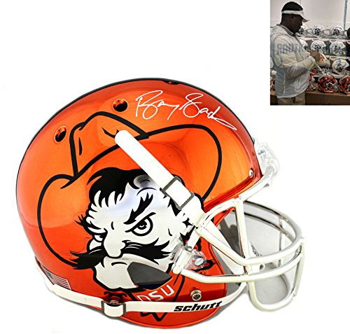 c0357030a9d Amazon.com  Barry Sanders Autographed Signed Oklahoma State Cowboys Orange  Chrome Schutt Full Size NCAA Helmet  Sports Collectibles