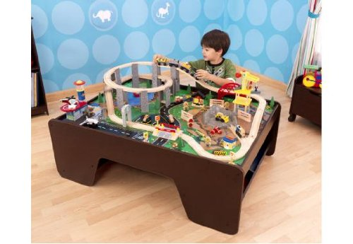 Amazon com  Kidkraft Wooden Espresso Train Table with Spiral Quarry Train  Set with Lights and Sounds  Toys   Games. Amazon com  Kidkraft Wooden Espresso Train Table with Spiral