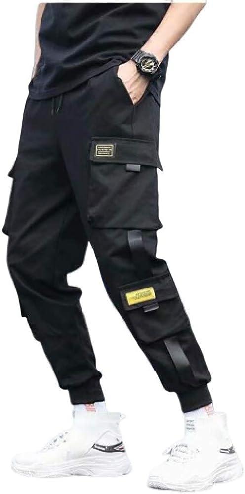 nobranded Pantalones de Hombre Pantalones de harén Streetwear Pantalones Punk de Cintura elástica con CintasPantalonesCasualesMultibolsillos