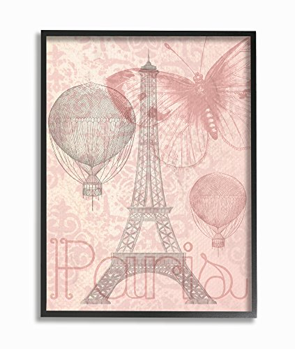 Stupell Industries Eiffel Tower Hot Air Balloon Paris Framed Giclee Texturized Art, Proudly Made in USA