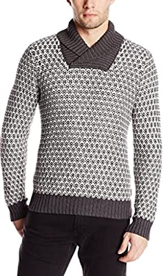 Calvin Klein Men's Reverse Jacquard Shawl Collar Sweater