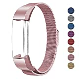 Fitbit Alta HR and Alta Bands Metal, Swees Milanese Stainless Steel Replacement Accessories Metal Small & Large Band for Fitbit Alta HR and Alta, Rose Pink
