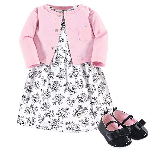 Hudson Baby Baby Girls Dress, Cardigan and Shoes, toile, 3-6 Months (6M)